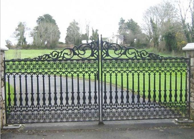 Security Entrance Cast Iron Decor Gate / Double Entry Ornamental Metal Gates