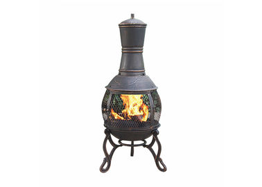 China Outdoor Antique Cast Iron Garden Chimney European / American Wood Burning Fireplace supplier