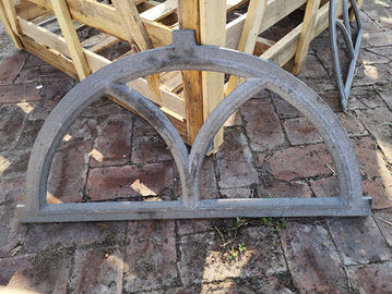 Antique Architectural Cast Iron Windows Salvage Half Moon Shape H19*W32CM
