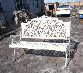 Rattan White Cast Iron Table And Chairs / Antique Metal Outdoor Armchair