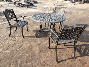 Green Outdoor View Cast Iron Garden Furniture Set Weather Resistant For Restaurant