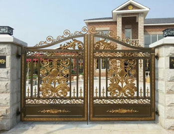 Villa Electroplated Cast Iron Gates / Courtyard Metal Driveway Gates