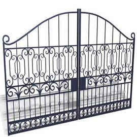 Sblack Primed Antique Wrought Iron Gates / Double Entry Residential Iron Gates