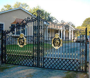 Black Mat Ornamental Fences And Gates / Decorative Metal Garden Gates
