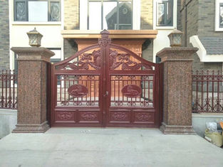 PVC Paint Wrought Iron Driveway Gates European Style Resist Rain