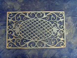 Antique Outdoor Decorative Cast Iron Doormat Rectangle Shape With Openwork Pattern