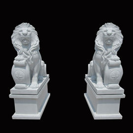White Garden Cast Iron Decor Carved Stone Pair Animals Lion Polished Finishing