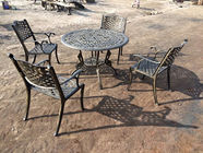 China Green Outdoor View Cast Iron Garden Furniture Set Weather Resistant For Restaurant company